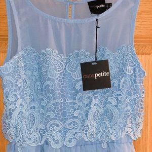 ASOS petite, blue dress.